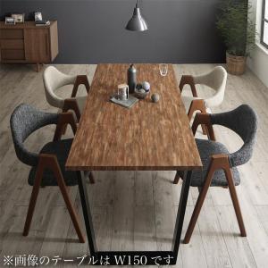 古木風×スチール脚ナチュラルモダンデザインダイニング FOLKIS フォーキス 5点セット(テーブル+チェア4脚) WBR W120