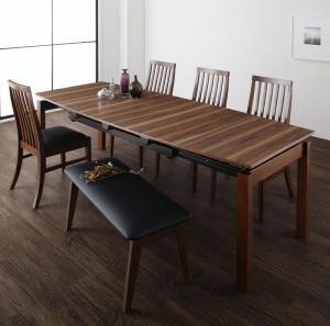 天然木ウォールナット材 ハイバックチェア ダイニング Austin オースティン 6点セット(テーブル+チェア4脚+ベンチ1脚) W140-240