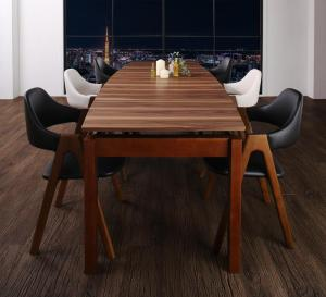 北欧テイスト 天然木ウォールナット材 伸縮ダイニングセット Aurora オーロラ 7点セット(テーブル+チェア6脚) W140-240