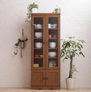 木目が美しいモダンボタニカルキッチン収納シリーズ Botanical ボタニカル 食器棚 幅58 高さ150