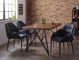 天然木ウォールナット材ヴィンテージデザインダイニング Latina ラティナ 5点セット(テーブル+チェア4脚) W160