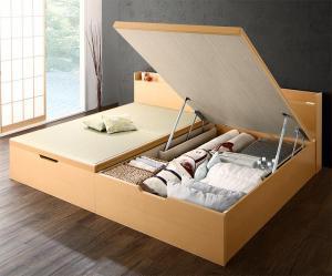 お客様組立 シンプルモダンデザイン大容量収納日本製棚付きガス圧式跳ね上げ畳ベッド 結葉 ユイハ 国産畳 セミダブル 深さグランド