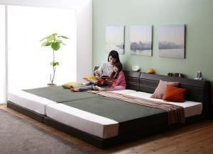 親子で寝られる棚・コンセント付きレザー連結ベッド Familiena ファミリーナ ポケットコイルマットレス付き ワイドK260(SD+D)