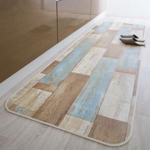 拭ける・はっ水 古木風ダイニングラグ Floldy フロルディー キッチンマット 50×150cm
