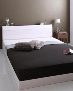 棚・コンセント付きレザーすのこベッド Ivan イヴァン ポケットコイルマットレス付き ダブル