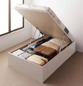 お客様組立 国産跳ね上げ収納ベッド Regless リグレス 薄型スタンダードボンネルコイルマットレス付き 縦開き セミダブル 深さラージ