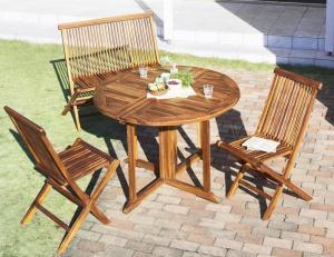 チーク天然木 ワイドラウンドテーブルガーデンファニチャー Abelia アベリア 4点セット(テーブル+チェア2脚+背付ベンチ1脚) チェア肘無 W110