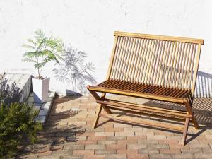 チーク天然木 ワイドラウンドテーブルガーデンファニチャー Abelia アベリア 背付ベンチ 2P