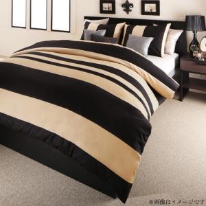 日本製・綿100% エレガントモダンボーダーデザインカバーリング winkle ウィンクル 布団カバーセット ベッド用 43×63用 キング4点セット