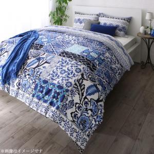 日本製・綿100% 地中海リゾートデザインカバーリング nouvell ヌヴェル 布団カバーセット 和式用 50×70用 ダブル4点セット