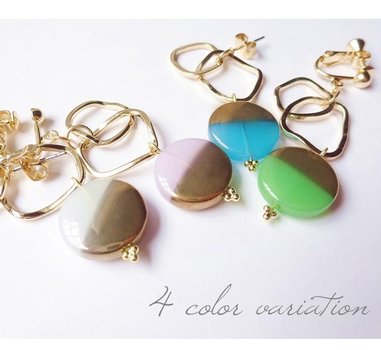 選擇從 3 設計 2 顏色和木紋 nonntoruuu 耳環立方氧化鋯 ★ 歐米茄耳環 pie185