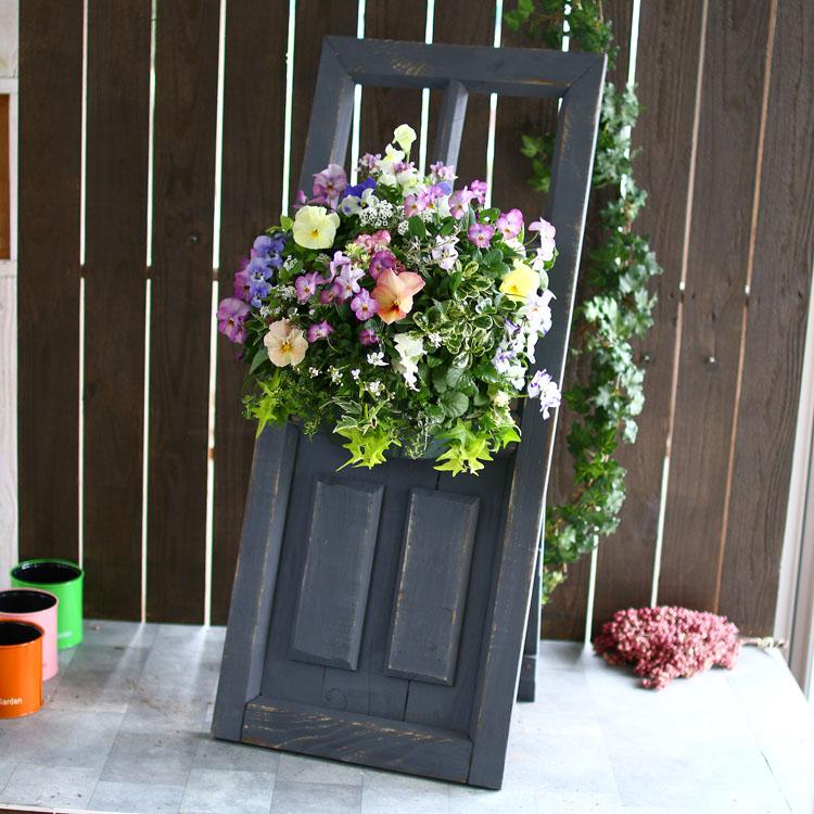 フラワースタンド ドア型ハンギング & リースボード グレー【4467-GY】 屋外 木製 アンティーク 玄関先 おしゃれ