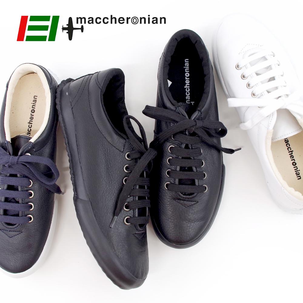 【MACCHERONIAN マカロニアン】ローカット レザースニーカー 【0039L】ブラック BLACK 黒 ハンドメイド スニーカー メンズ レディース 靴【5/26/9/59】
