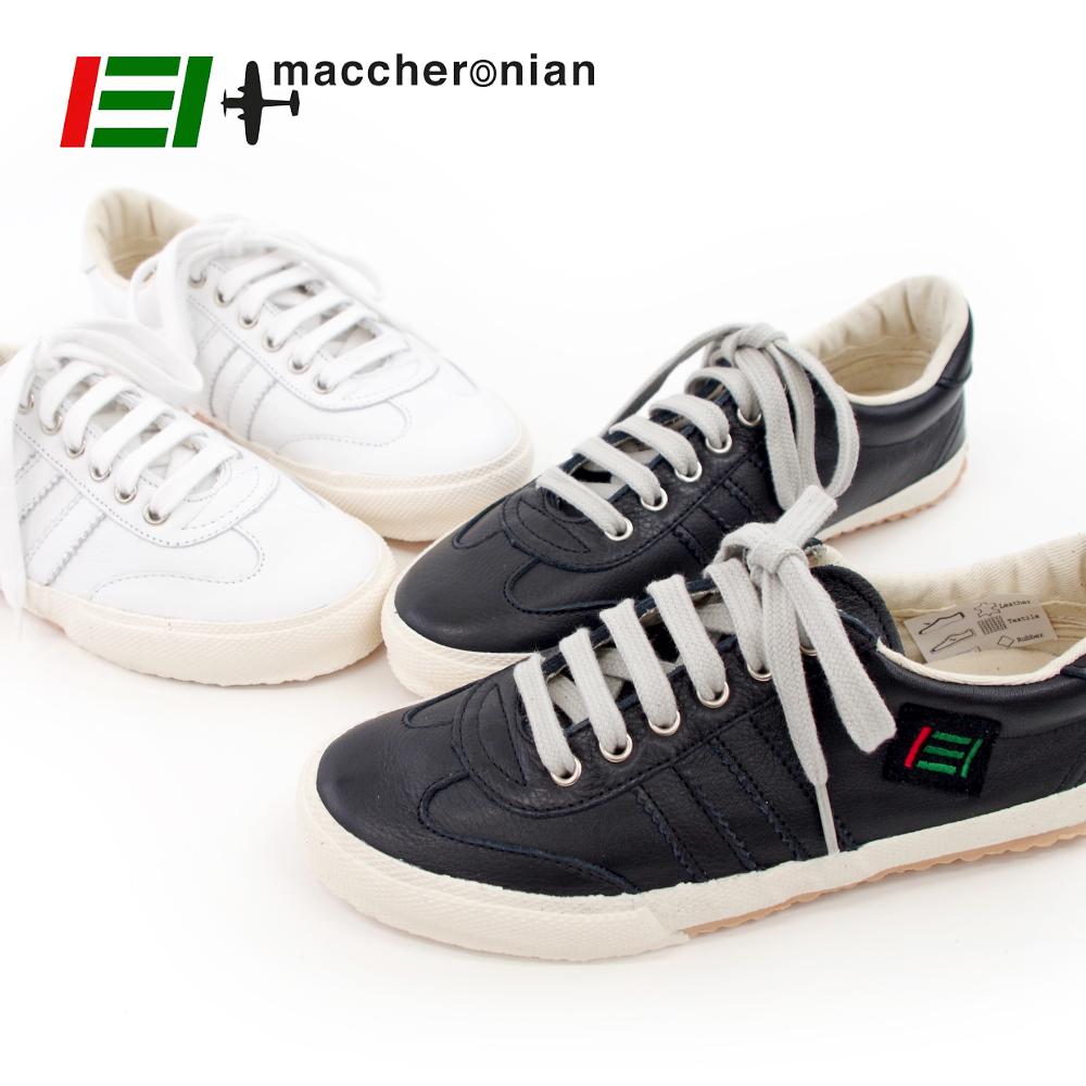 【MACCHERONIAN マカロニアン】ローカット レザースニーカー 【2039L】ブラック BLACK 黒 ハンドメイド スニーカー メンズ レディース 靴【5/26/9/59】
