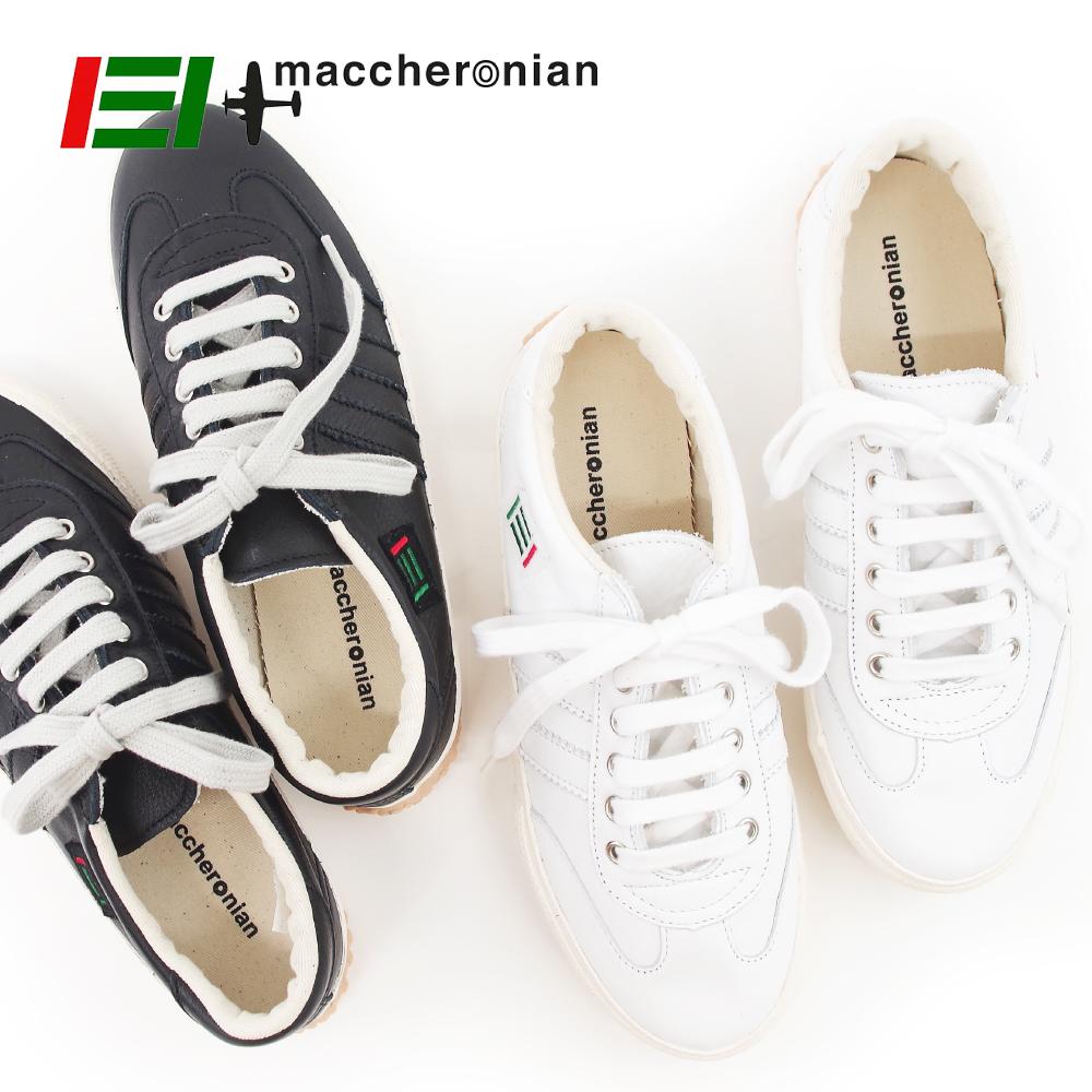 白 【2039L】ホワイト レディース WHITE ハンドメイド レザースニーカー メンズ スニーカー 靴【1/15/9/59】 マカロニアン】ローカット 【MACCHERONIAN