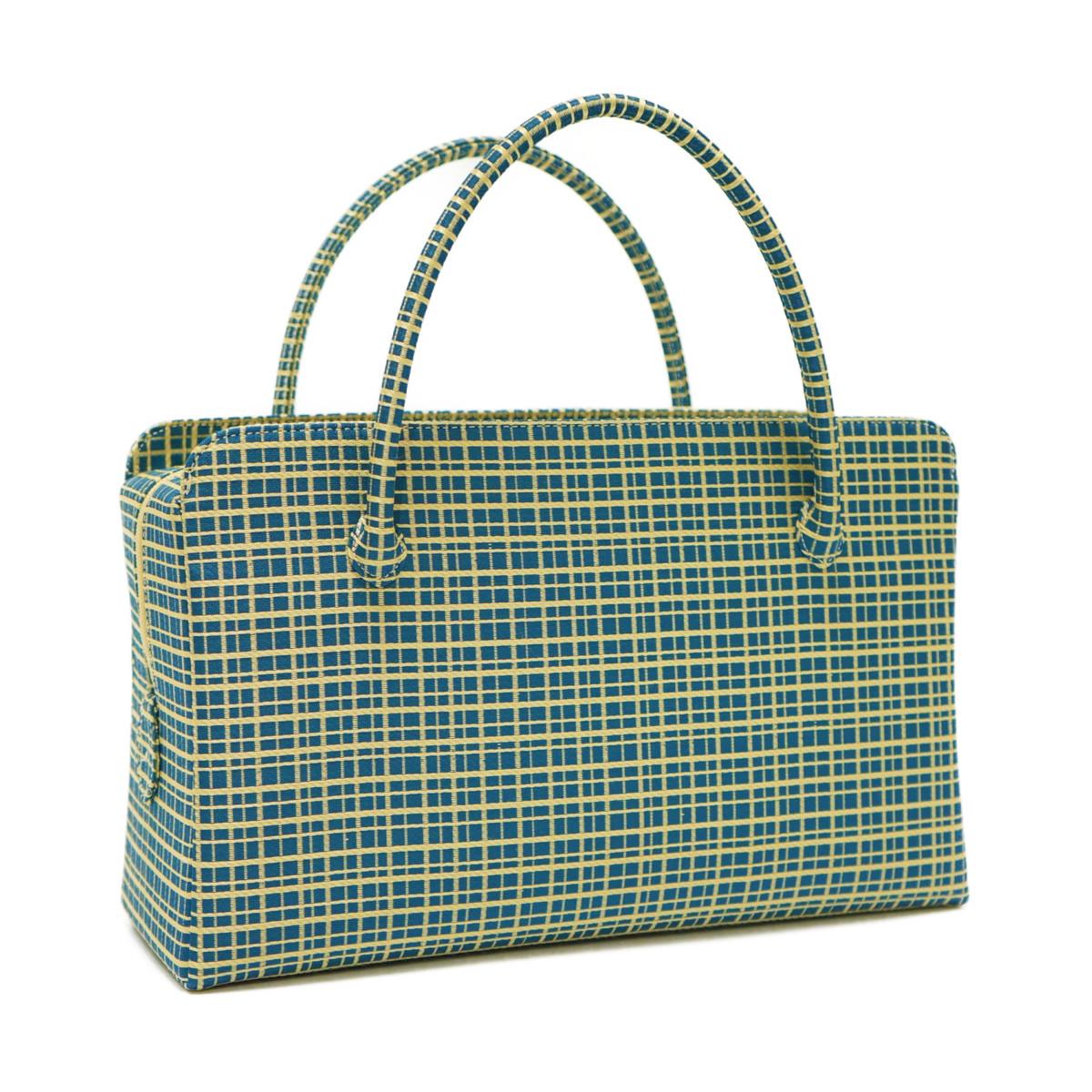 和装バッグ 利休バッグ金襴織物 格子