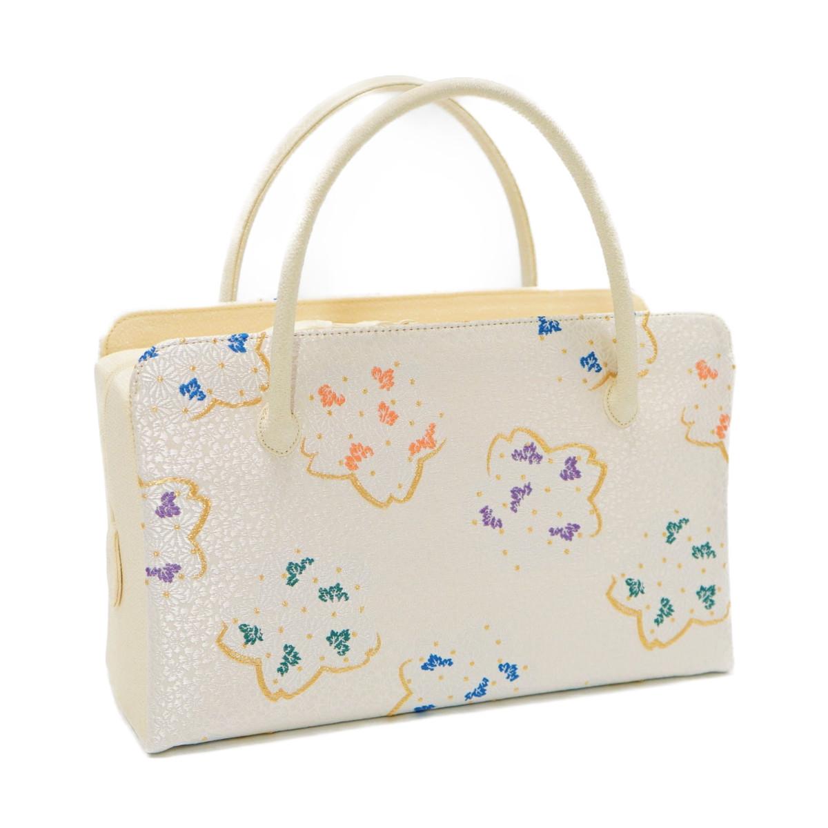 和装バッグ 利休バッグ新作金襴 菊と桜の柄