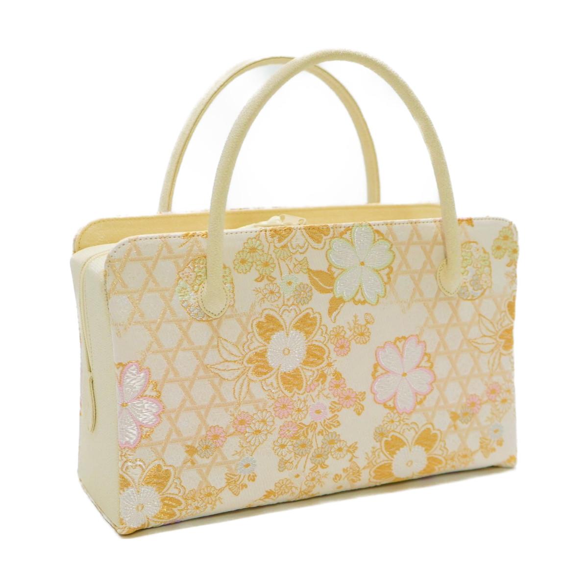 和装バッグ 利休バッグ金襴織物 桜