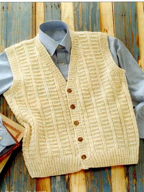 編み物 キット 地模様のカンタン前開きベスト 編み図/ボタン付き 生成り×ベージュ杢 メンズ 手編み キット ハマナカ hama 手芸の山久