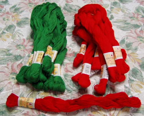 10 skeins 1 bunch Dharma 20/3 Laura Hank-gas Tokyo yarn and color Cotton sewing thread red / green ykt handicraft