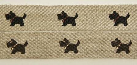 日本製 往復送料無料 プリント麻テープ 15mm巾 テリア 犬 格安SALEスタート 全2色 No.4784 リネンテープ