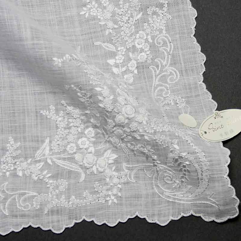 ベトナム手刺繍ハンカチ 花 2217 ホワイト ハンカチ 白 レディース 【送料無料】