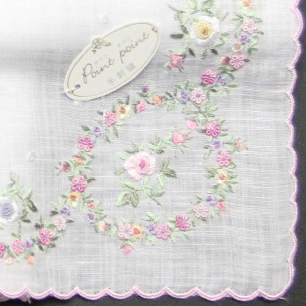 ベトナム手刺繍ハンカチ 花 4203 ピンク ハンカチ レディース 【送料無料】