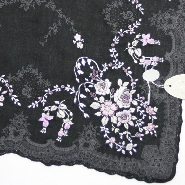 ベトナム手刺繍ハンカチ 花 9201 ブラック 【送料無料】