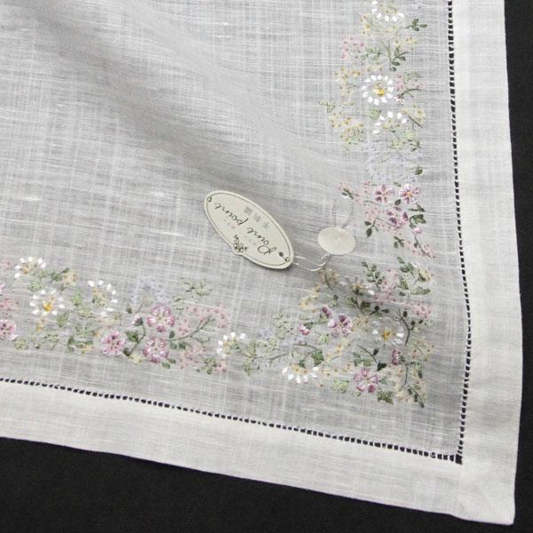 ベトナム手刺繍ハンカチ 花 5502 ピンク 【送料無料】