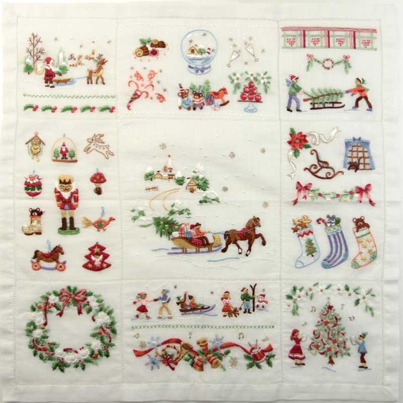 ポワンポワン ベトナム手刺繍 ハンカチ クリスマス 4701 ホワイト レディース 【送料無料】