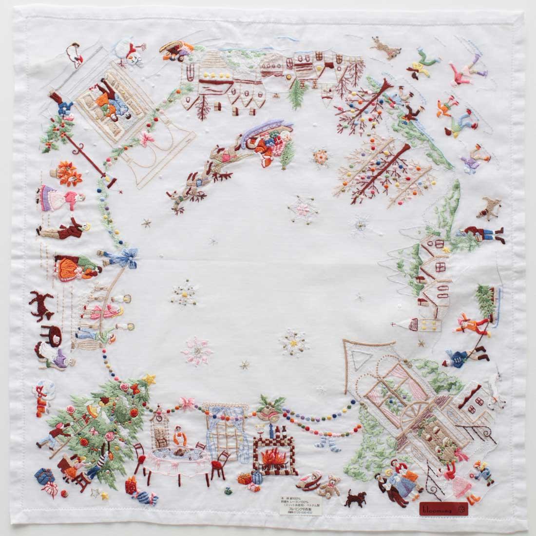 ポワンポワン ベトナム手刺繍 ハンカチ クリスマス 3701 ホワイト レディース 【送料無料】