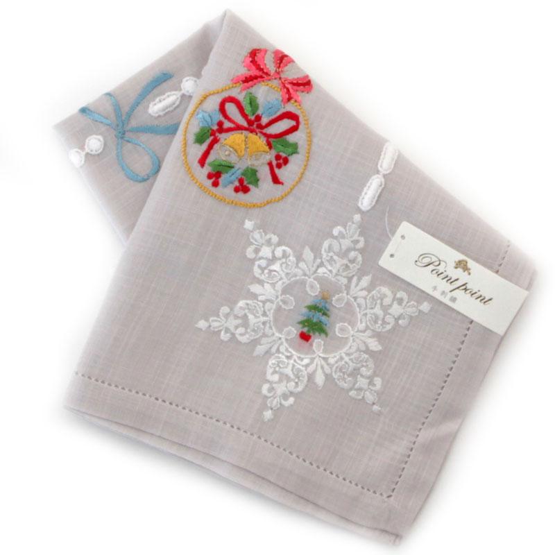 ポワンポワン ベトナム手刺繍 ハンカチ クリスマス リース 8705 グレー 【送料無料】