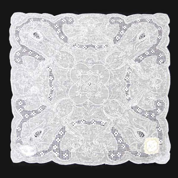【送料無料】汕頭手刺繍 ハンカチ 2204 ホワイト 白