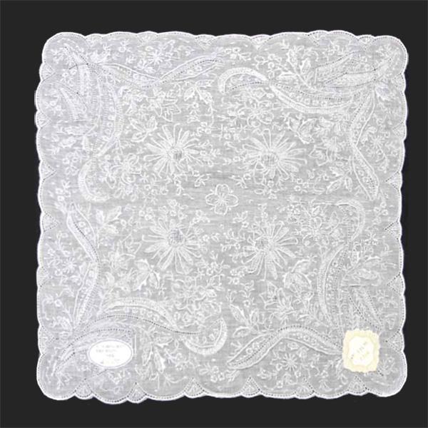 【送料無料】汕頭手刺繍 ハンカチ 3928 ホワイト 白