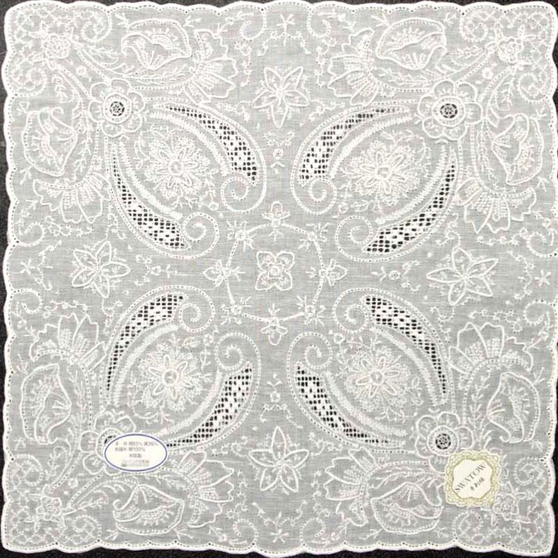 【送料無料】汕頭手刺繍 ハンカチ 4203 ホワイト 白