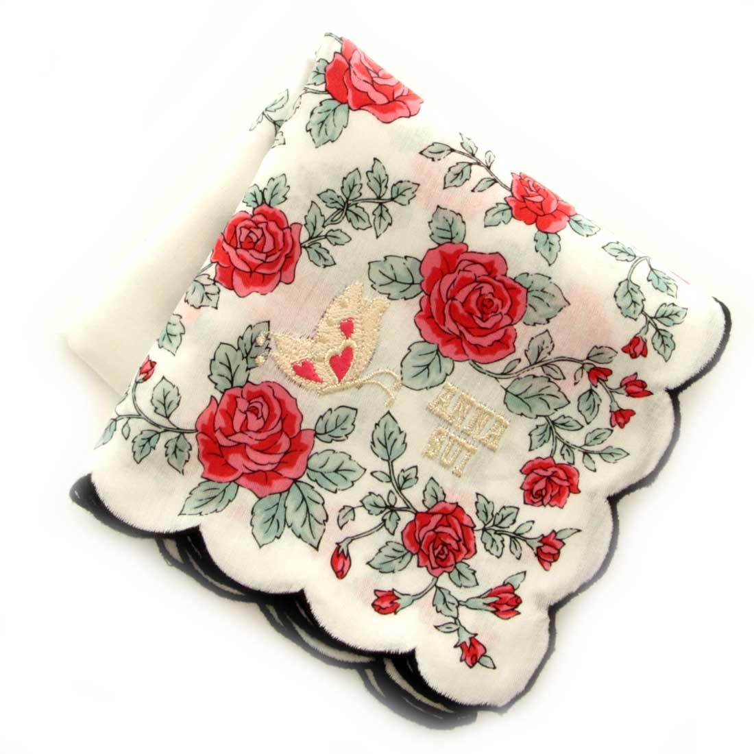 最安値に挑戦 超激安 アナスイ ANNA SUI アナ レッド 0203 刺繍ハンカチ スイ
