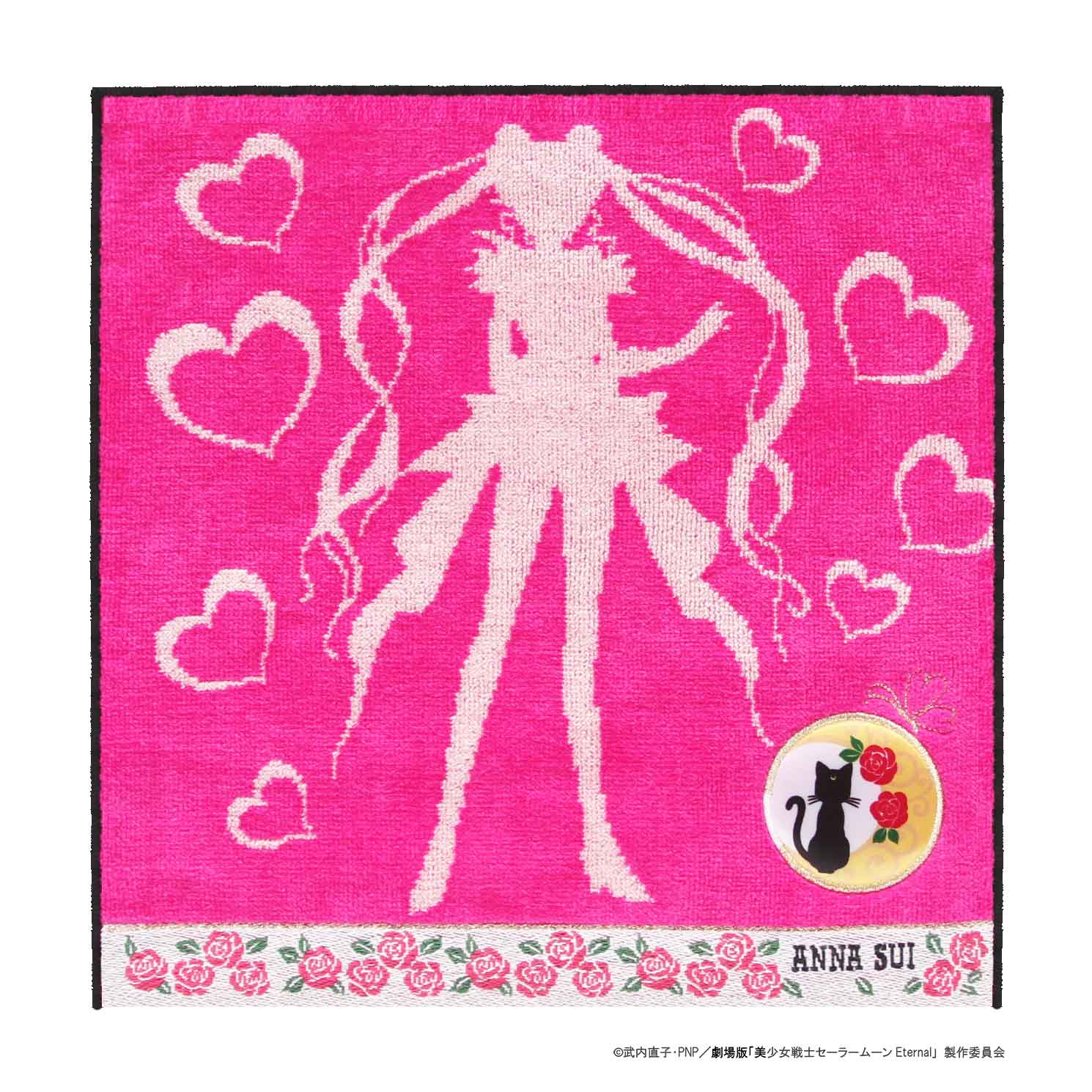 アナスイ 返品不可 ANNA SUI 上質 劇場版 美少女戦士セーラームーンEternal タオルハンカチ × 0701 ピンク