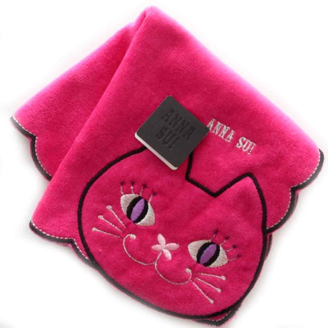 激安挑戦中 アナスイ メーカー公式 ANNA SUI アナ ネコ刺繍タオルハンカチ スイ ピンク 9502