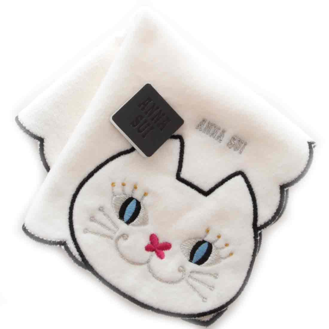 アナスイ ANNA SUI 激安通販販売 アナ スイ ネコ刺繍タオルハンカチ ホワイト 宅配便送料無料 9502