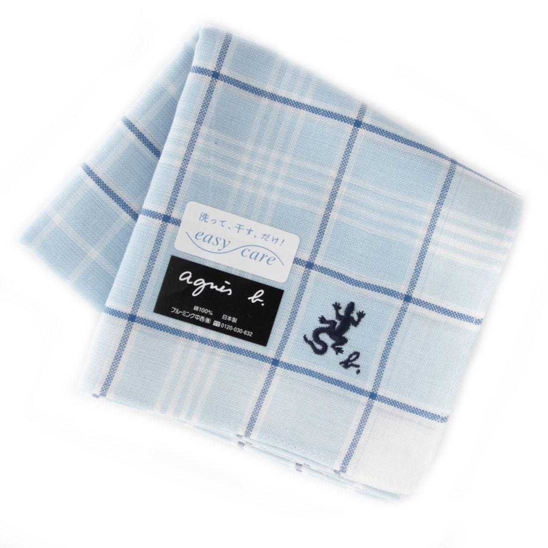 今だけスーパーセール限定 agnes b アニエスベー メンズ ブルー ハンカチ イージーケア 0254 お買い得