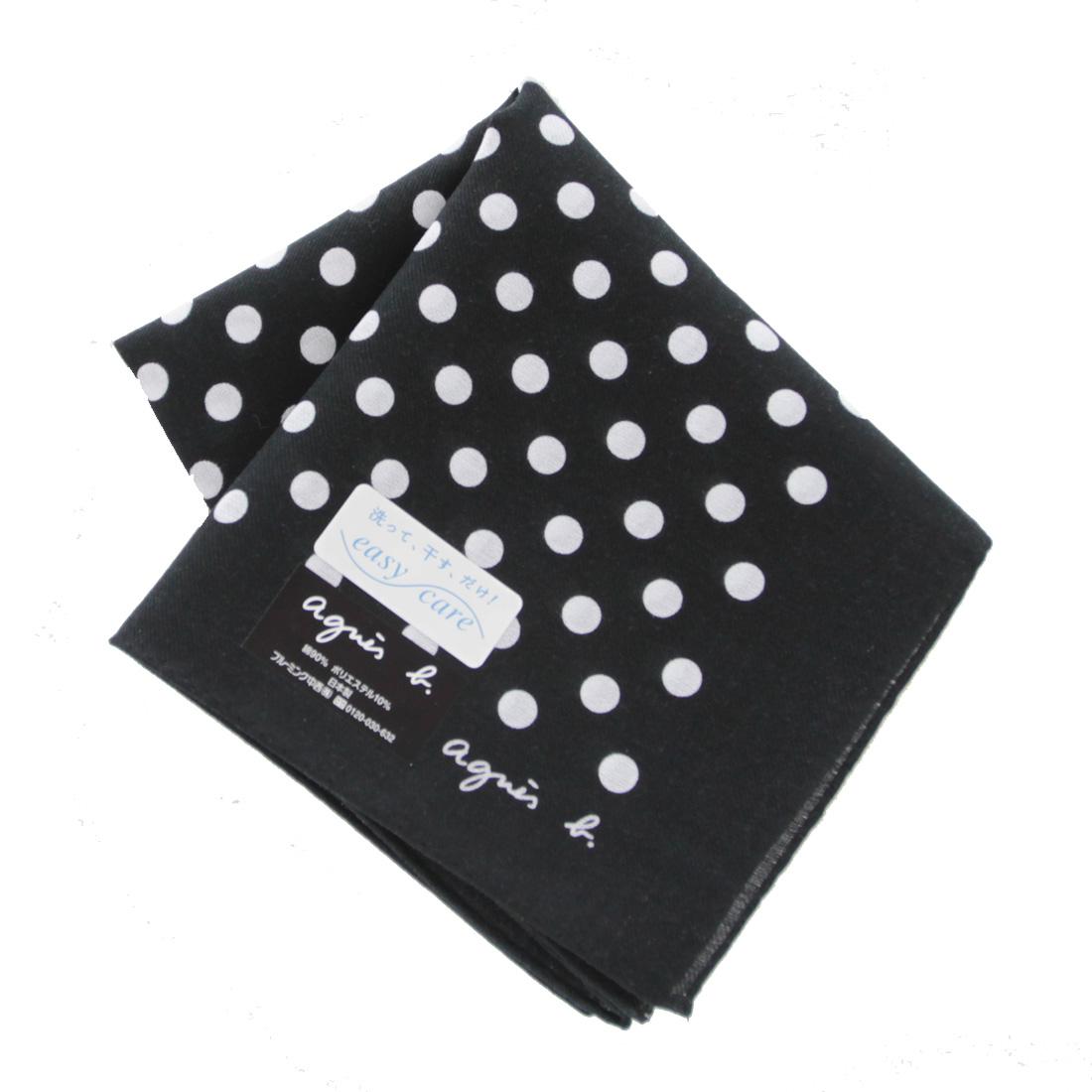 agnes b 本物◆ アニエスベー メンズ イージーケア ブラック プリントハンカチ 0252 販売