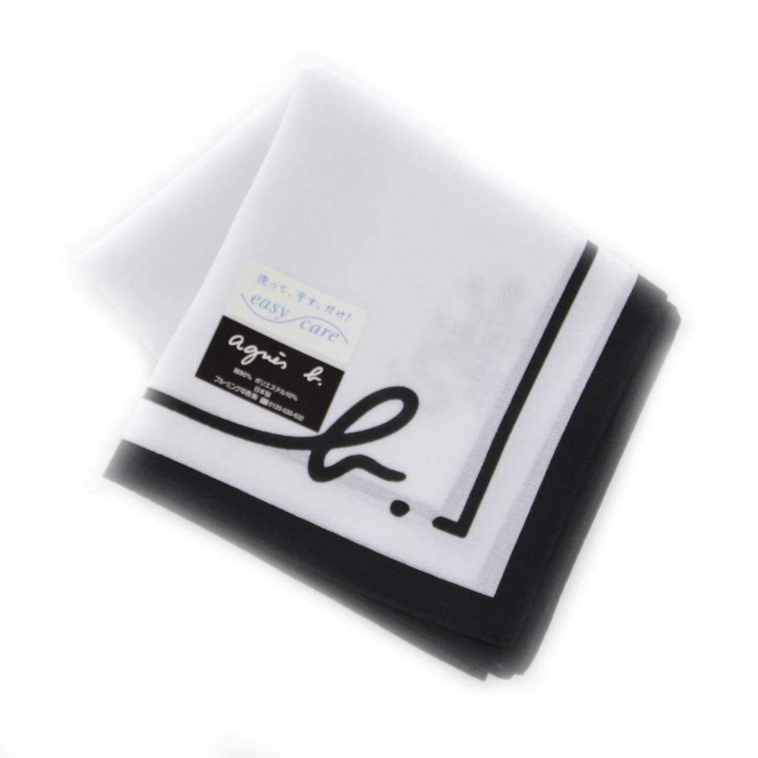 直送商品 agnes b 再再販 アニエスベー メンズ イージーケア プリントハンカチ 0253 ホワイト