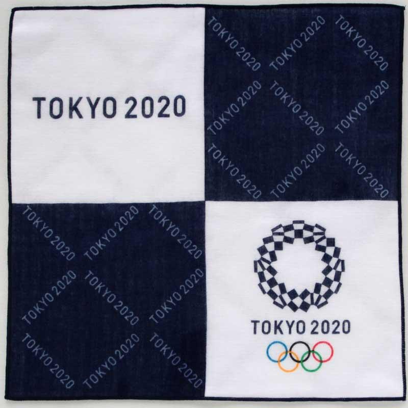 驚きの値段で 東京2020公式ライセンス商品 SALE 750円→300円 東京2020オリンピックエンブレム パッケージ入り 0001 両面プリントガーゼハンカチーフ 再再販