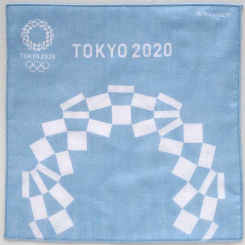 東京2020公式ライセンス商品 SALE 750円→300円 おすすめ 東京2020オリンピックエンブレム ブルー 両面プリントガーゼハンカチーフ 大放出セール 0002 パッケージ入り