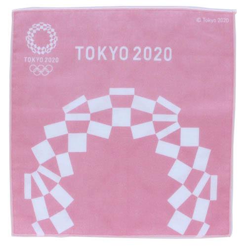 東京2020公式ライセンス商品 SALE 750円→300円 東京2020オリンピックエンブレム 世界の人気ブランド ピンク パッケージ入り 両面プリントガーゼハンカチーフ 物品 0002