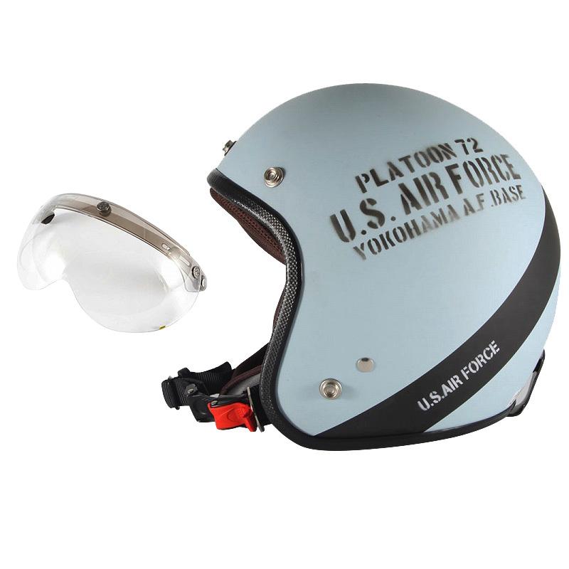 72JAM デザイナーズジェットヘルメット [AF-04] 開閉シールド付き [APS-03]U.S.A.F ブルーグレー [ブルーグレーマット仕上げ]3サイズ メンズ レディース 兼用品 SG規格 全排気量対応