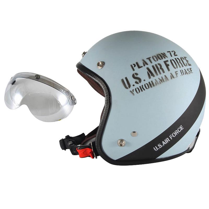 72JAM デザイナーズジェットヘルメット [AF-04] 開閉シールド付き [APS-04]U.S.A.F ブルーグレー [ブルーグレーマット仕上げ]3サイズ メンズ レディース 兼用品 SG規格 全排気量対応