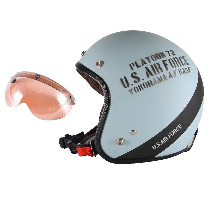 72JAM デザイナーズジェットヘルメット [AF-04] 開閉シールド付き [APS-05]U.S.A.F ブルーグレー [ブルーグレーマット仕上げ]3サイズ メンズ レディース 兼用品 SG規格 全排気量対応