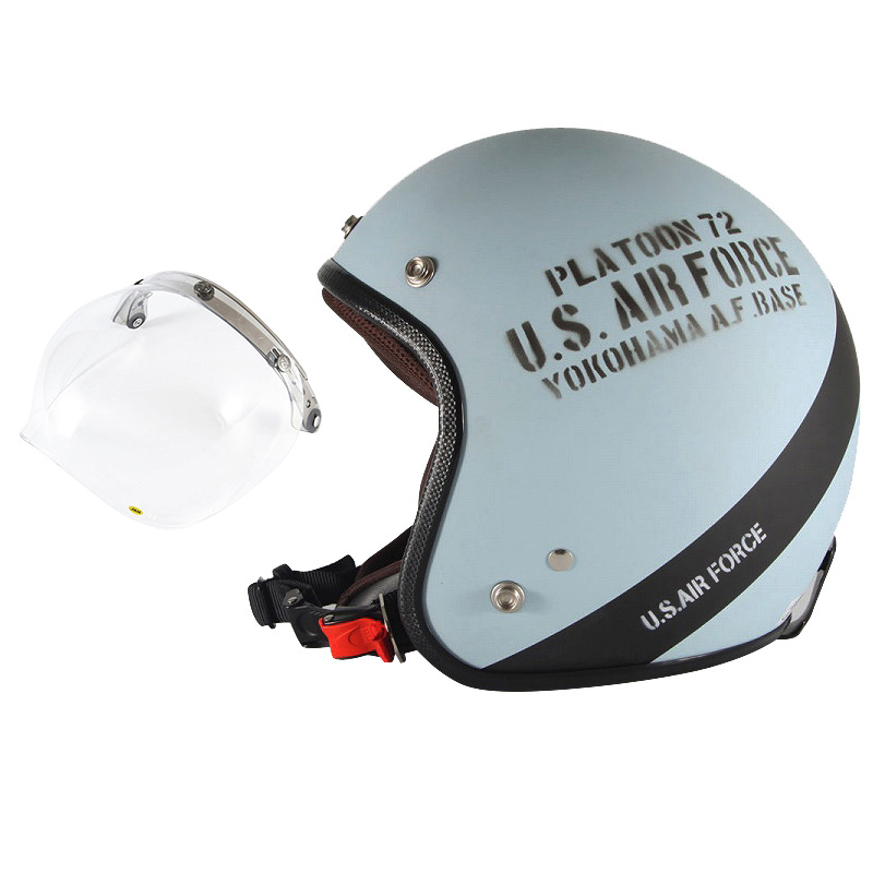 72JAM デザイナーズジェットヘルメット [AF-04] 開閉シールド付き [JCBN-01]U.S.A.F ブルーグレー [ブルーグレーマット仕上げ]3サイズ メンズ レディース 兼用品 SG規格 全排気量対応