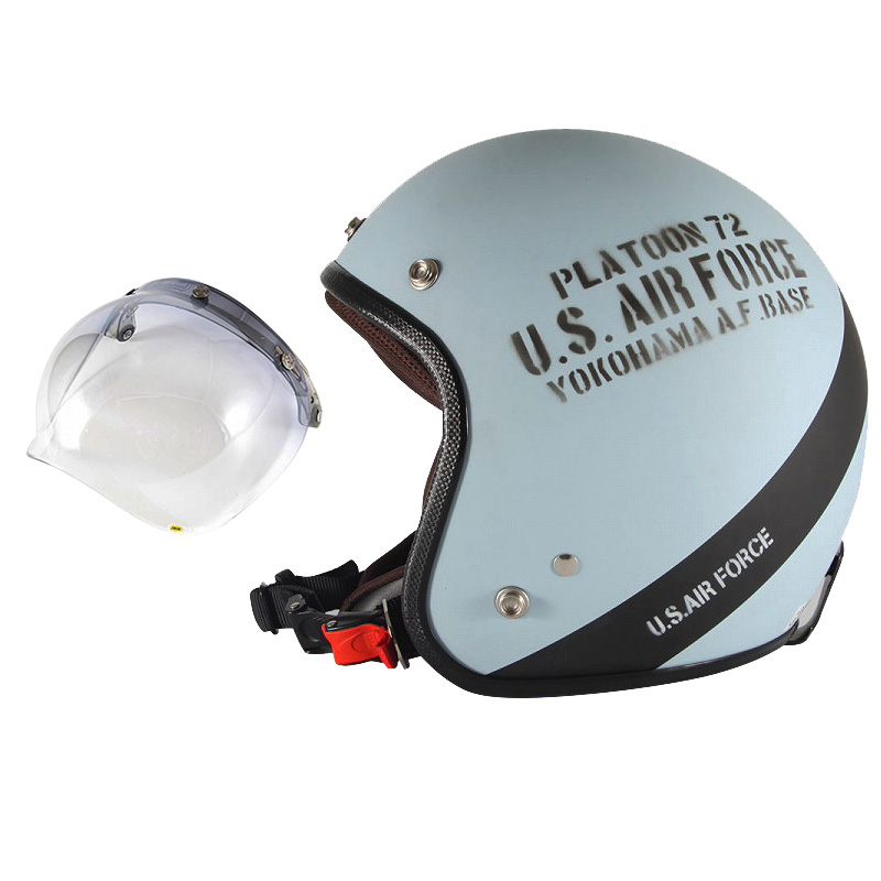 72JAM デザイナーズジェットヘルメット [AF-04] 開閉シールド付き [JCBN-05]U.S.A.F ブルーグレー [ブルーグレーマット仕上げ]3サイズ メンズ レディース 兼用品 SG規格 全排気量対応